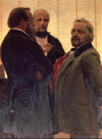 Portrait by Ilya Repin of composer and musician, Balakirev with Odoyevsky and Glinka (left to right)