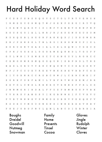 Hard holiday word search. Click on thumbnail to reveal answers.