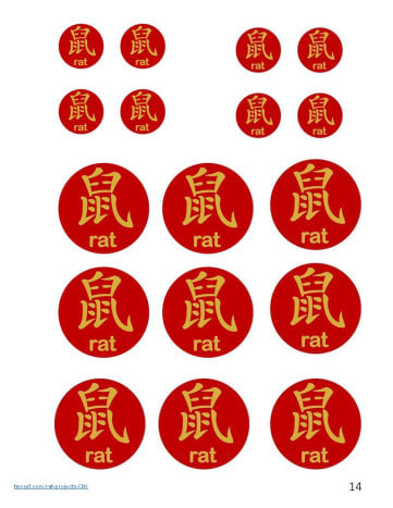 "These red circles have the word ""rat"" in Chinese and English. You can use them for the pipe cleaner rat and folded paper rat crafts described later in this article."