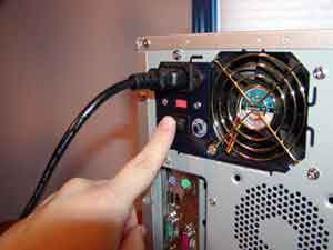 switch off the power supply and detach power cable