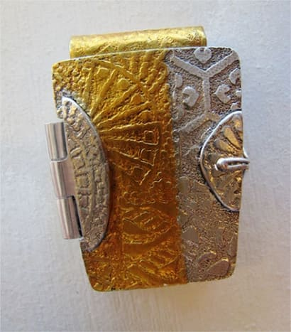Fine silver and 24k gold foil box locket pendant, textured with tear-away textures.