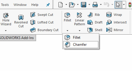 Chamfer tool location in the Features toolbox
