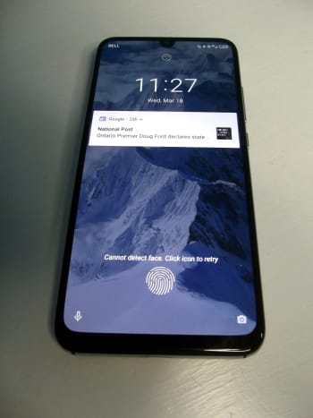 The phone is equipped with a fingerprint scanner.