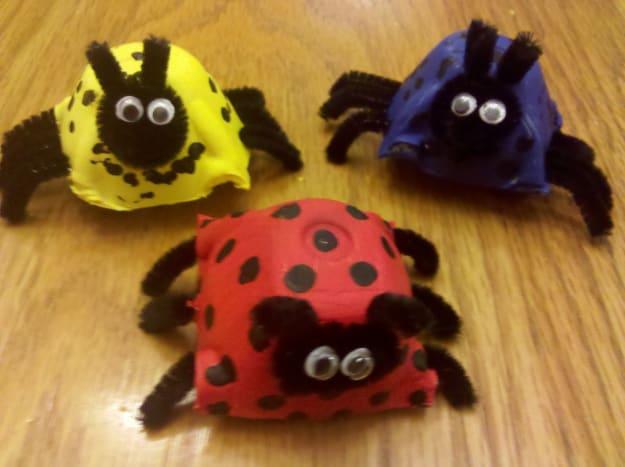 Our egg carton ladybug family!