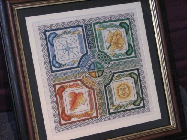 The finished cross stitch - matted, laced and framed!
