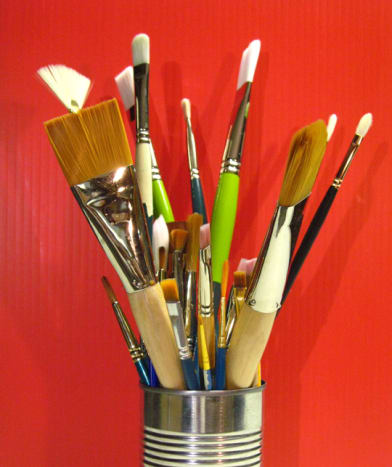 Some of my brushes, kept tip-up in a can.