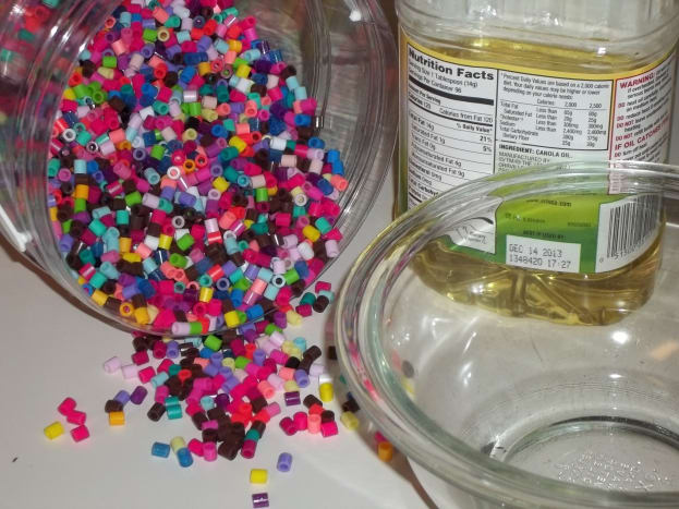 Supplies needed for Perler Bead Bowls.