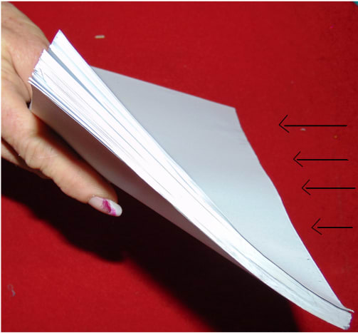 Step #1  Here you have your manuscripts. Stack your manuscript in the proper order, paying close attention to the edges staying flush.