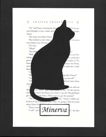 This is one of the simpler shapes to cut: a cat in honor of Minerva McGonagall.