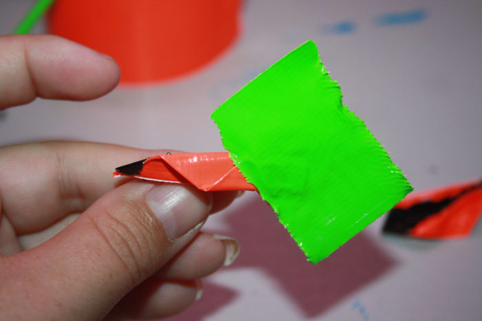 Add a strip of the stem color to the end of the leaf at a diagonal so it is easier to wrap around the stem.