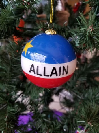 My Allain family ornament is an orb styled after the Acadian flag.