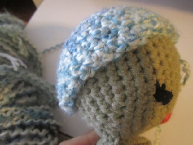 For the wig cap I crocheted Steps 1 - 12 of the Head.
