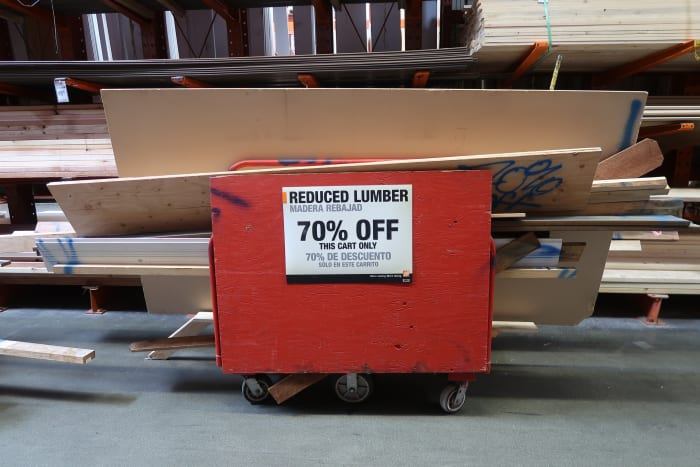 Look around the lumber section to find the discount cart!
