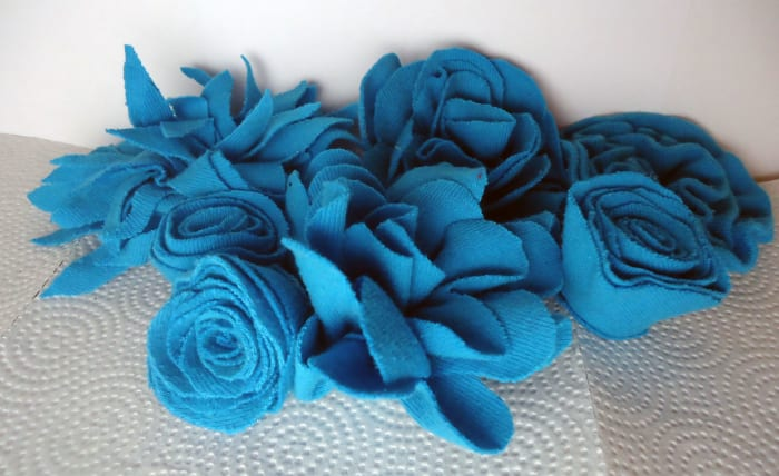 Blue flowers made from an old t-shirt