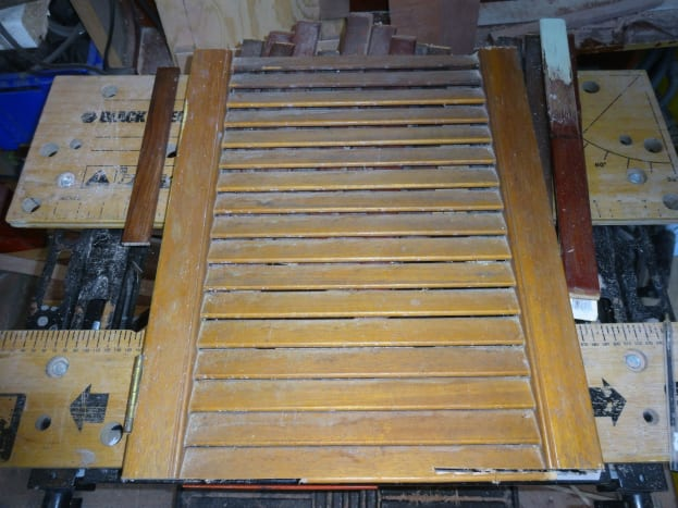 Salvaged louvre door to be upcycled to drawer dividers