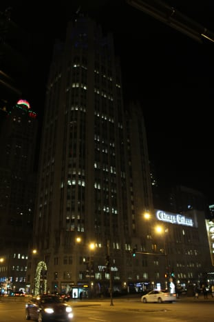 The Chicago Tribune Tower; picture taken at night in December 2015. Kind of got it by accident, really . . .