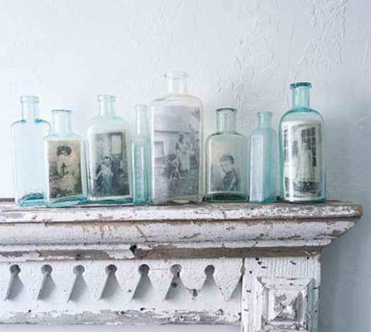 Photographs inside vintage bottles