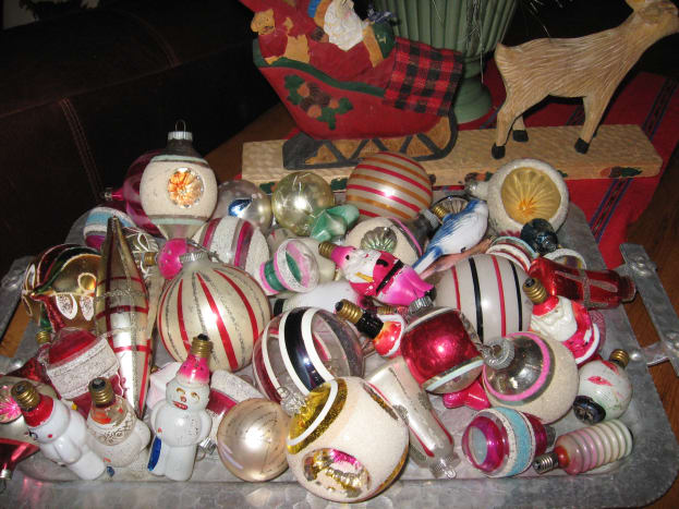 Some of my ornaments displayed on a tray.