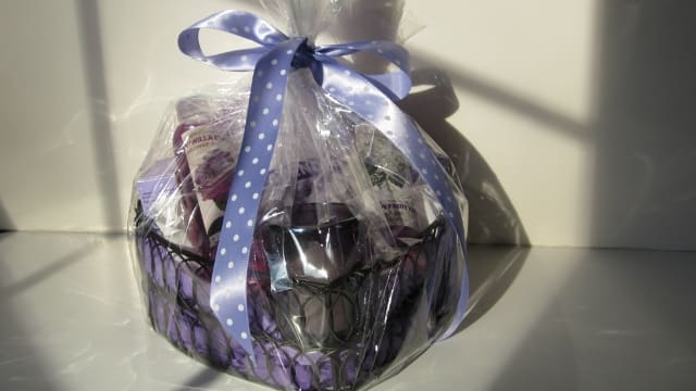 This basket has purple accents with lavender-scented products.