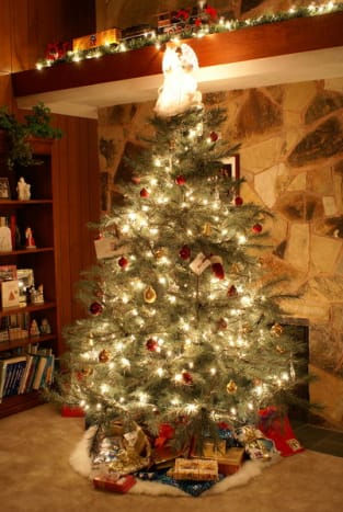 A Christmas tree in America on Christmas Eve