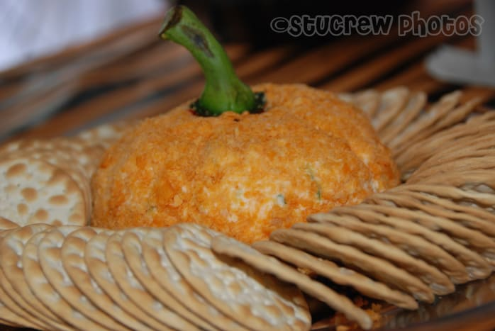 This is my completed pumpkin-shaped cheese ball.