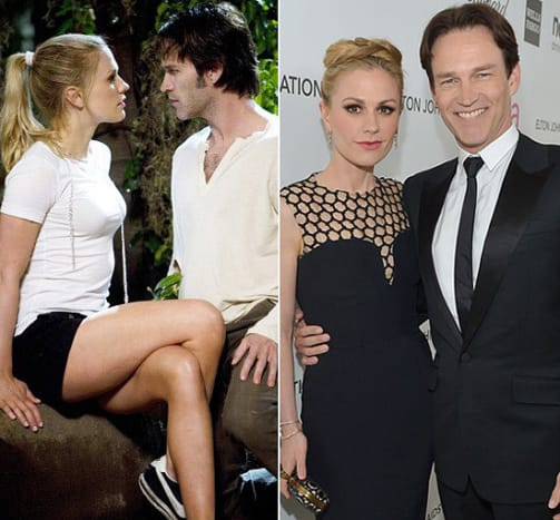 Real-life couple Anna Paquin (Sookie) and husband Stephen Moyer (Bill).