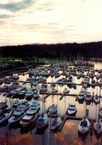 Sunset over the Vancouver marina as viewed from our room number 1184 at the Westin Bayshore Hotel.