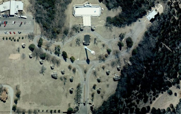 Oklahoma Castles: Overall view of the Wentz Castle Complex as seen from satellite.  Images courtesy of Google.