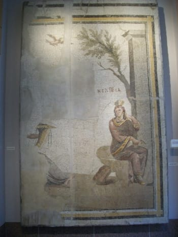 A giant Roman mosaic adorns the wall just outside of the Gallery of World Cultures.