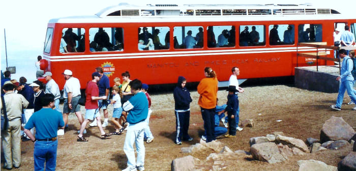 People arriving on the Pikes Peak cog railway.