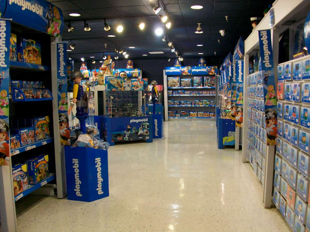 The Playmobil FunStore is immaculately clean, well-stocked, and thematically arranged.