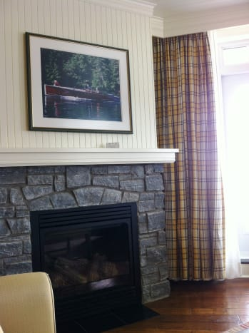 Every room in the resort comes with a Muskoka stone gas fireplace.