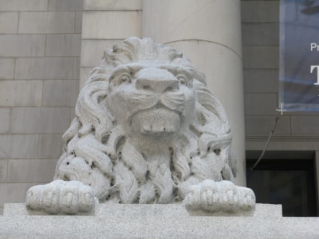 A lion in front of the Vancouver Art Gallery