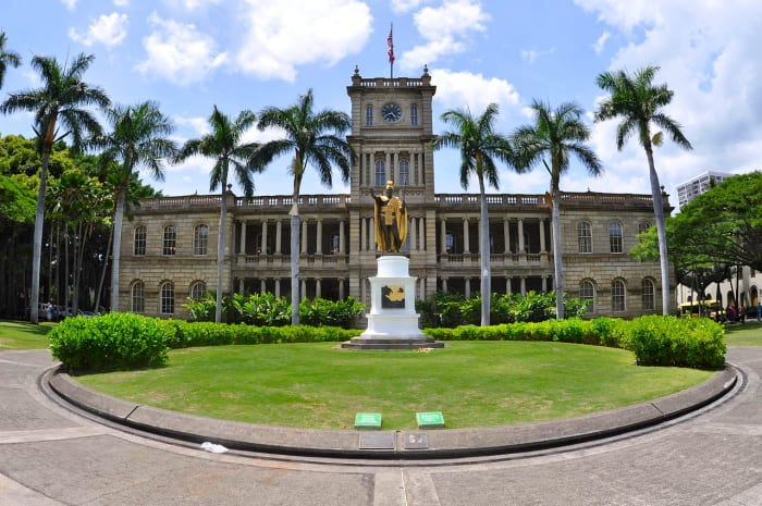The King Kamehameha's statue in front of the Aliʻiōlani Hale.