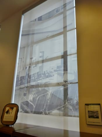 Translucent photo window coverings at 1940 Air Terminal Museum