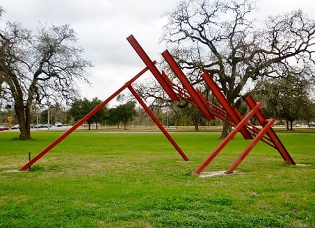 """Three Quarter Time"" sculpture by Ben Woitena in Memorial Park"