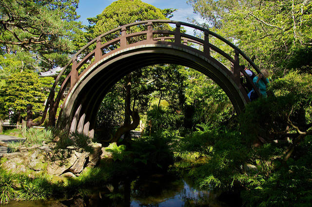 The high-arched Moon Bridge is a fun and challenging climb