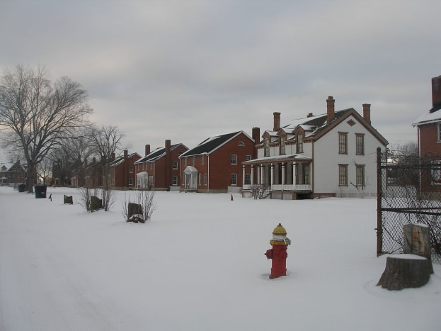 "Homes of the officers sat on ""Officers' Row."" This photo was taken during the winter of 2011. Ongoing preservation is current."