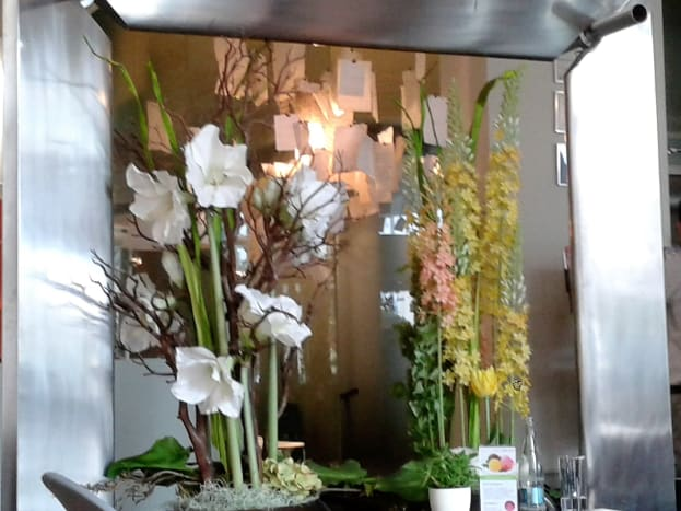 Floral decorations near the bar area.