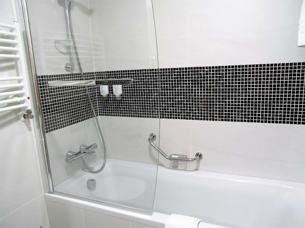 The bath with shower over.