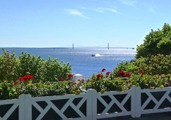 View from West Porch at the Grand Hotel on Mackinac Island, Michigan