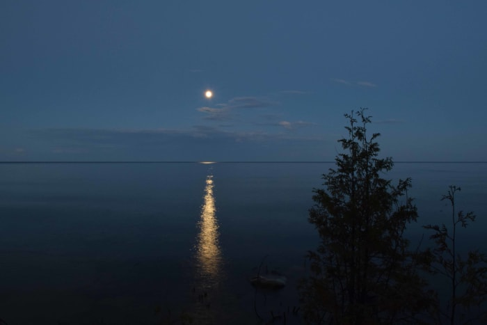 Moonrise over Lake Michigan in Bailey's Harbor, Wisconsin - Door County