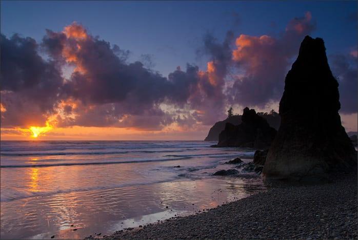 Ruby Beach at sunset at Olympic National Park near Seattle, Washington