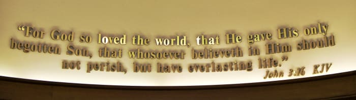 John 3:16 on the wall at the Focus on the Family Visitor Center