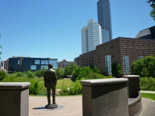Statue of George H.W. Bush appearing to gaze at downtown Houston