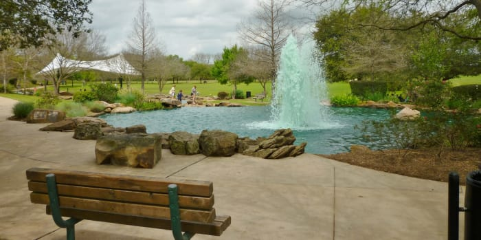 Oyster Creek Park – Fountain at the top of water feature