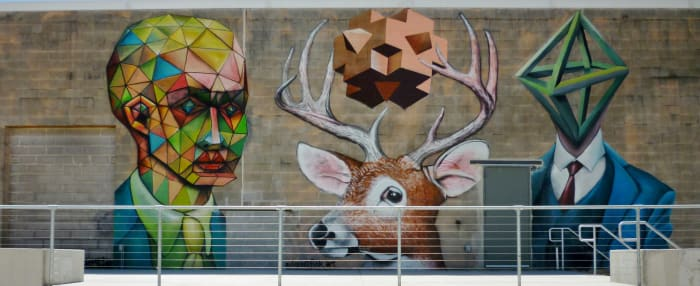 Portion of the Vincent Fink Mural at Silver Street Studios