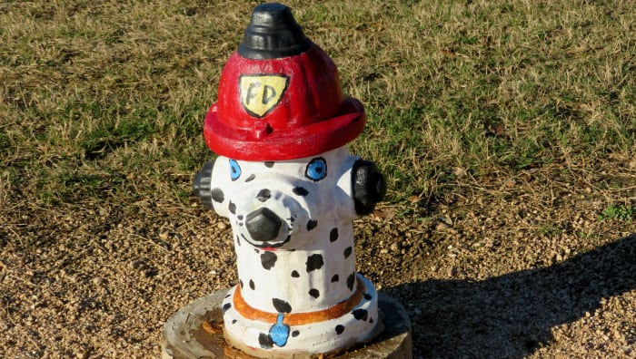 A cutely decorated fire hydrant in Congressman Bill Archer Park