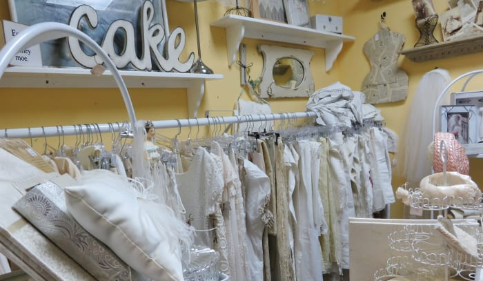 Room with vintage wedding apparel