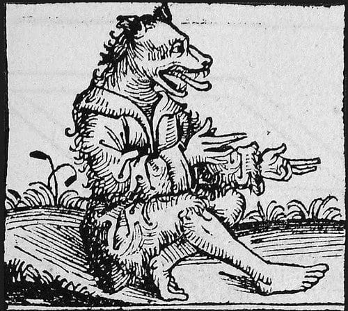 A depiction of a werewolf.